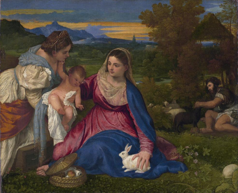 Тициан Вечеллио. Мадонна с Младенцем и Екатериной Александрийской или Мадонна с кроликом