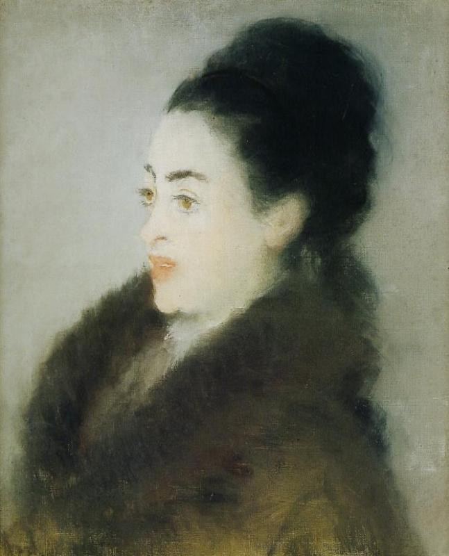 Эдуар Мане. Женщина в профиль в меховом пальто