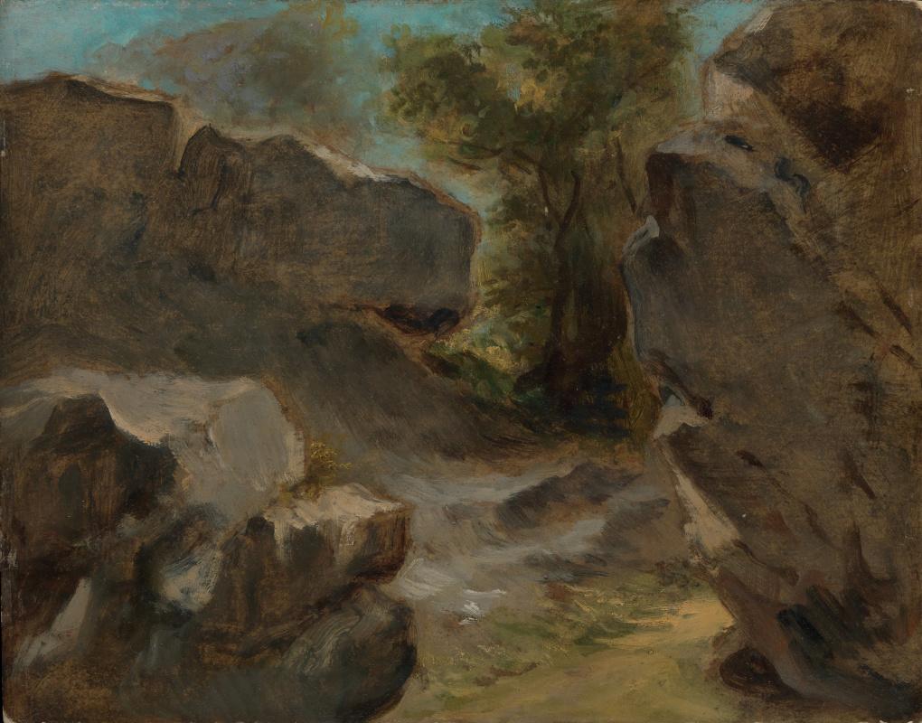 Eugene Delacroix. Landscape with rocks