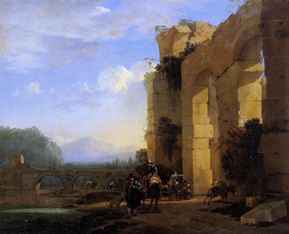 Ян Асселейн. Итальянский пейзаж с мулами