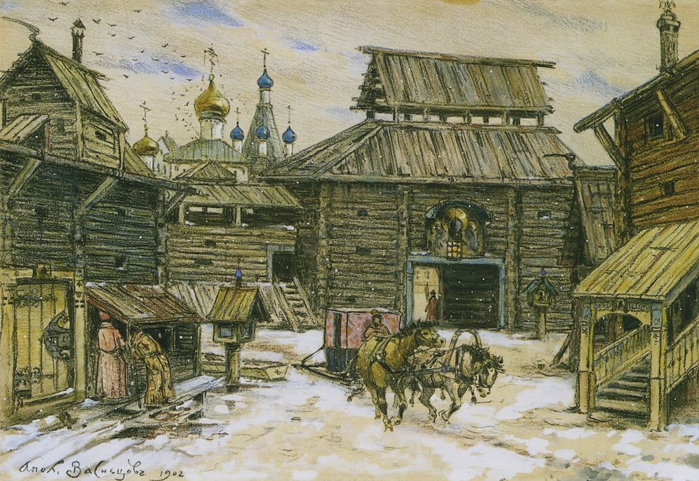 Apollinarius Mikhailovich Vasnetsov. Old Moscow. The walls of the wooden city