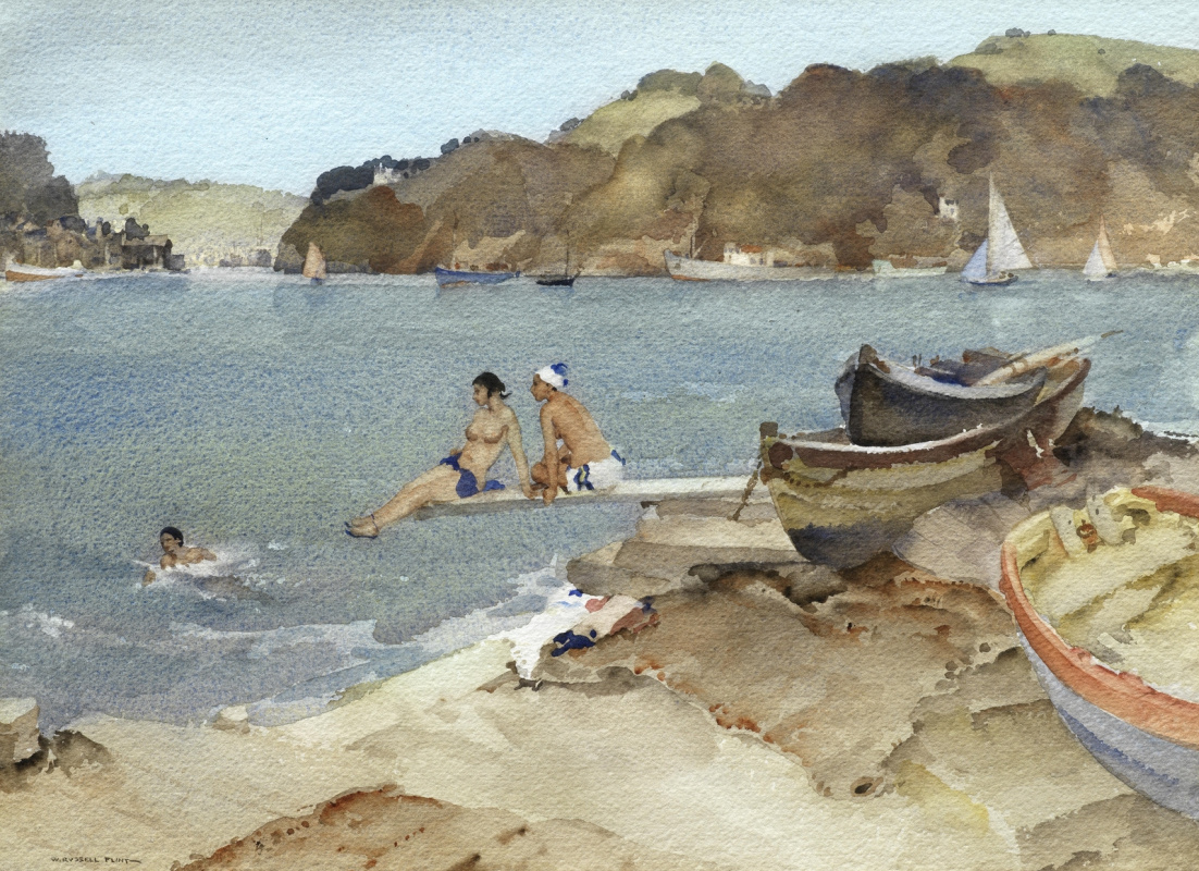 William Russell Flint 1880 - 1969 Scotland. Sirens are watching. 1959