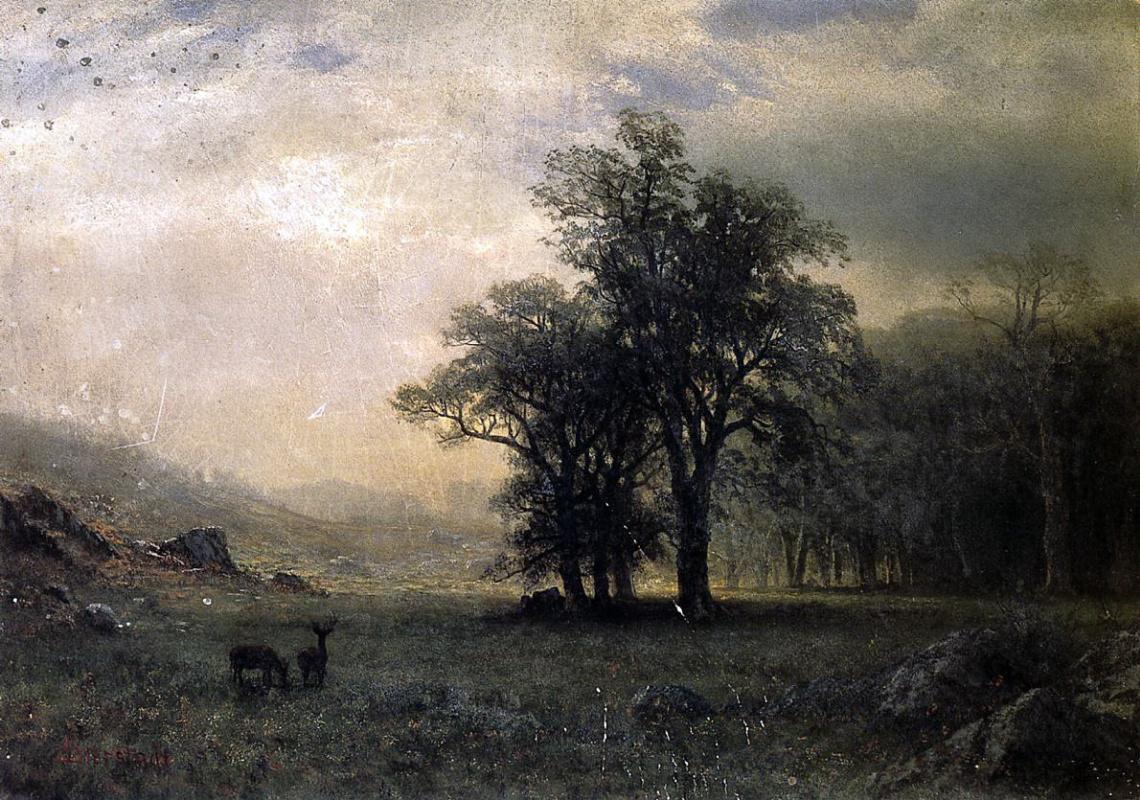 Альберт Бирштадт. Пейзаж с оленем