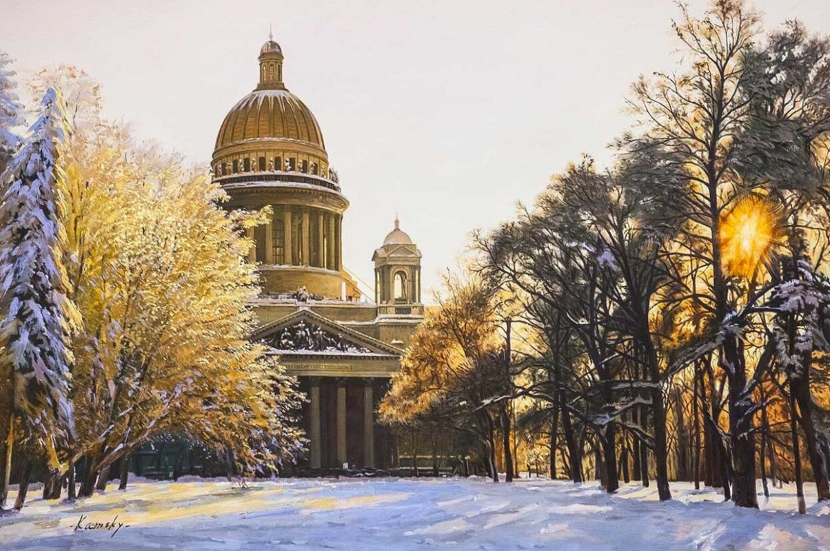 Savely Kamsky. St. Isaac's Cathedral in the sunset