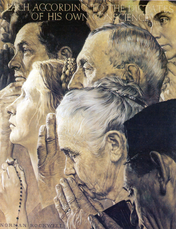 Norman Rockwell. The four freedoms: Freedom of religion