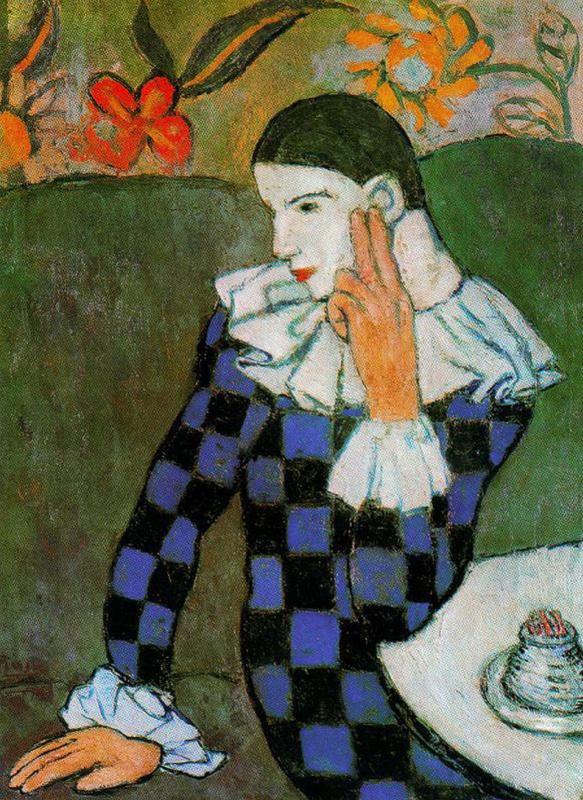 Пабло Пикассо. Склонившийся Арлекин