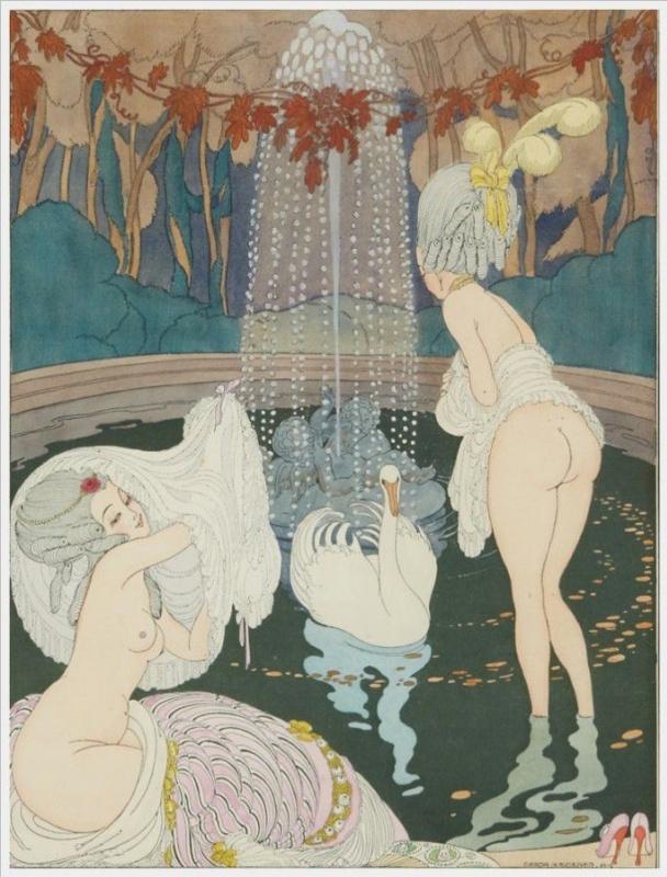 Герда Вегенер. Женщины в стиле рококо  с лебедями