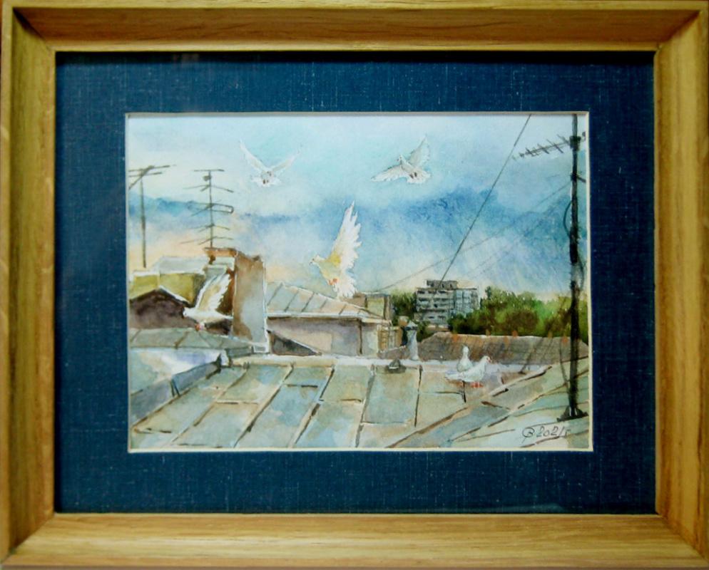 Sergey Rafailovich Zakernichny. Pigeons on the roof