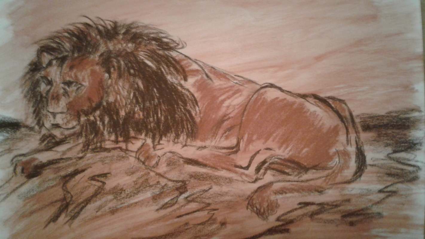 Alex Bulldoserist. Lying lion (based on Rembrandt's drawing)
