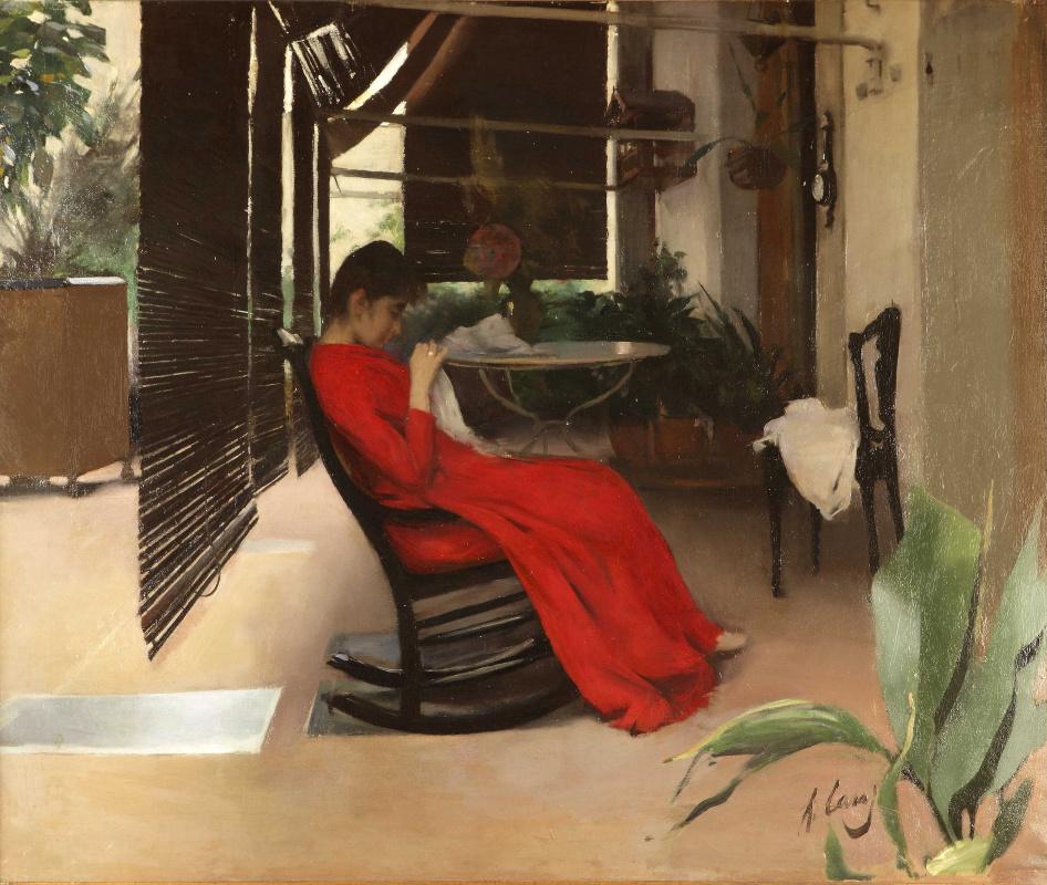 Рамон Касас Карбо. Женщина в красном платье за шитьем