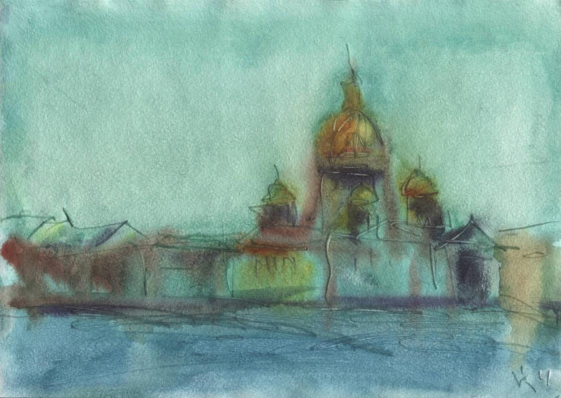Вячеслав Крыжановский. View through the Neva to St. Isaac