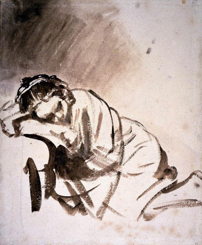 Rembrandt Harmenszoon van Rijn. Woman sleeping (Hendrickje)