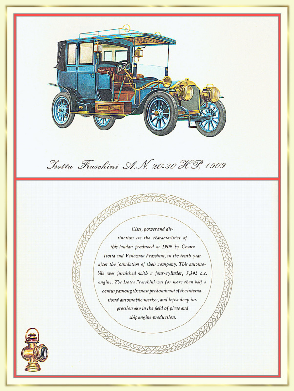 Лионель Моррис. Серия ретро-автомобили. 1909 Изотта-Франчини АН