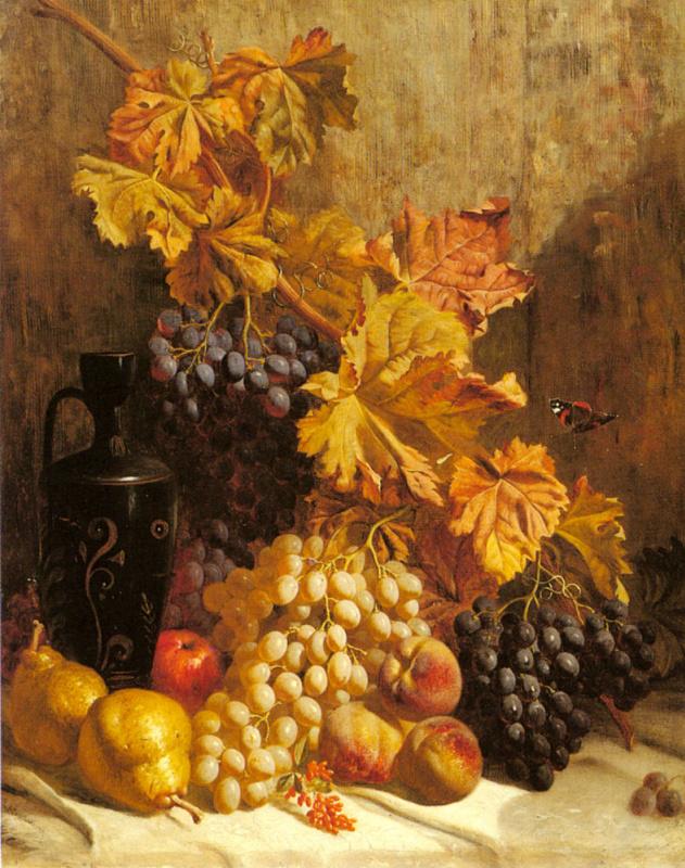 Уильям Хьюз. Натюрморт с виноградом. Груши, персики.