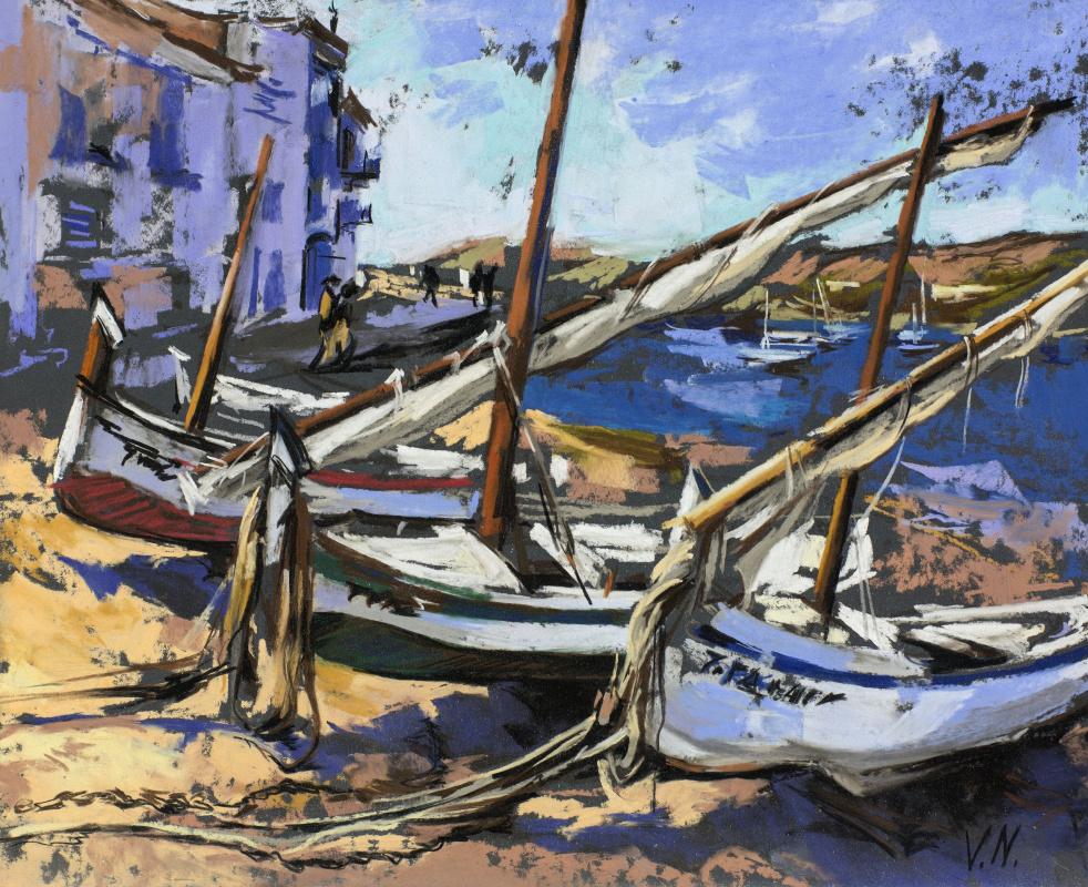 """Valeria Gal'evna Nadezhdin. """"Boats. Cadaques »Catalonia"""