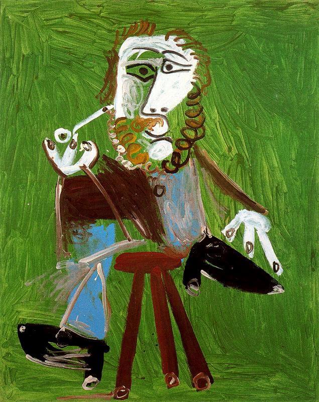 Пабло Пикассо. Сидящий мужчина с трубкой
