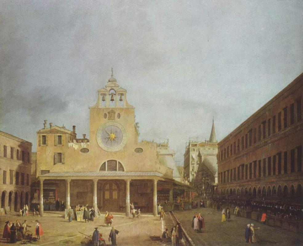 Джованни Антонио Каналь (Каналетто). Площадь перед Сан Джакомо ди Риальто в Венеции