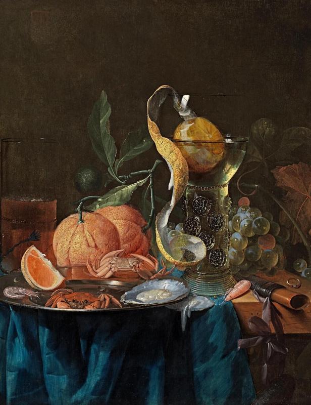 Питер де Ринг. Натюрморт с апельсинами, виноградом, вином, элем, крабами и устрицами на оловянной тарелке на столе, покрытом синей тканью