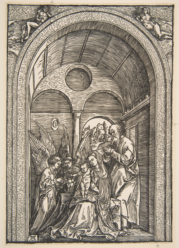Albrecht Durer. Holy family with two angels