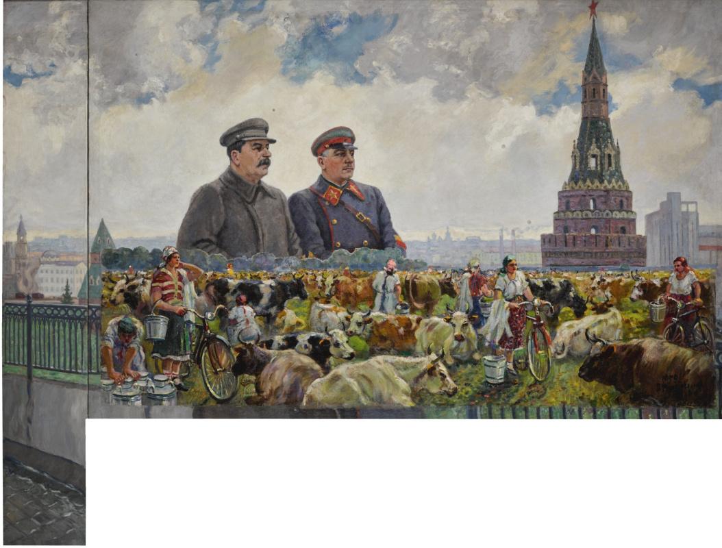 Александр Михайлович Герасимов. Колхозное стадо / Сталин и Ворошилов в Кремле