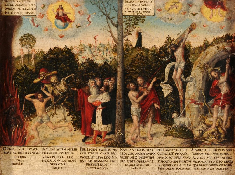 Лукас Кранах Младший. Проклятие и Искупление (Закон и благодать) ок.1550