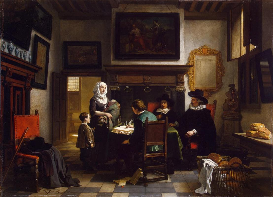 Хубертус ван Хове. Раздача милостыни в богадельне