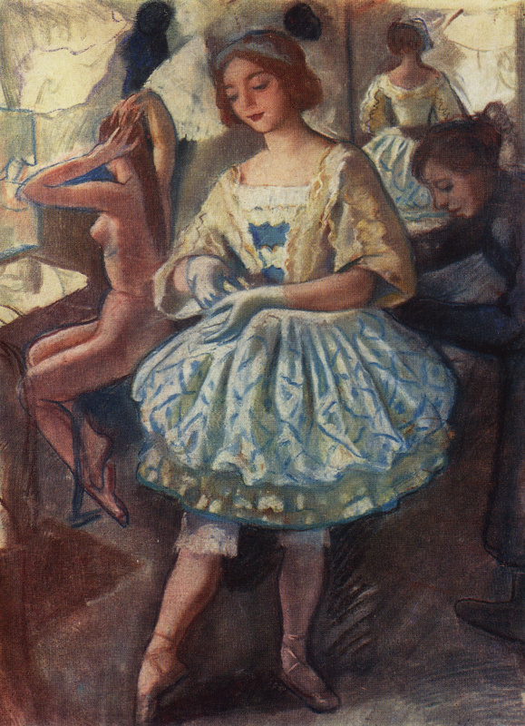 """Зинаида Евгеньевна Серебрякова. Портрет балерины Е. А. Свекис в костюме для балета """"Фея кукол""""."""