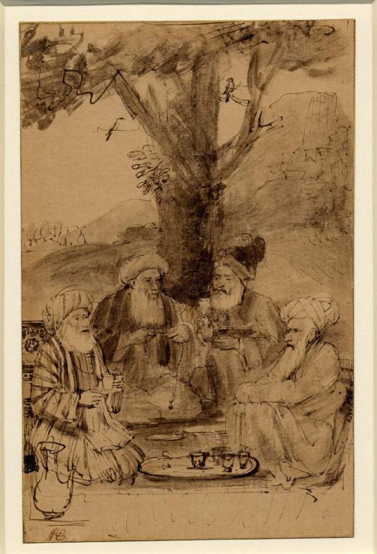Четыре муллы сидели под деревом (шейх Хусейн Джами, шейх Хусейн Аджмери, шейх Мухаммед Мазандарани и шейх Миян Мир)