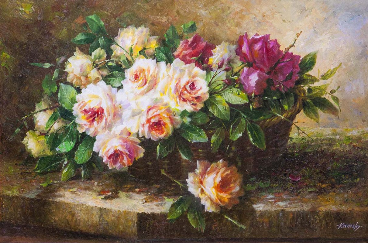Savely Kamsky. A bouquet of roses in a basket