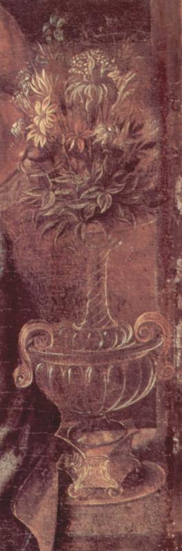 Леонардо да Винчи. Мадонна с гвоздикой. Фрагмент. Цветы