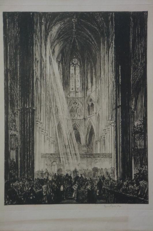 Frank William Brangwyn. Интерьер собора. Офорт. подпись автора