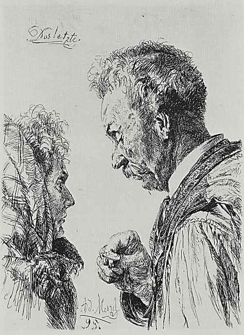 Adolf Friedrich Erdmann von Menzel. Last. Jeweler, ring checking on the poor woman