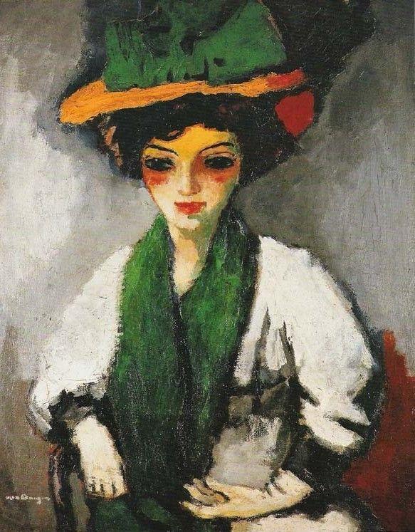 Кес Ван Донген. Женщина в зелёной шляпе