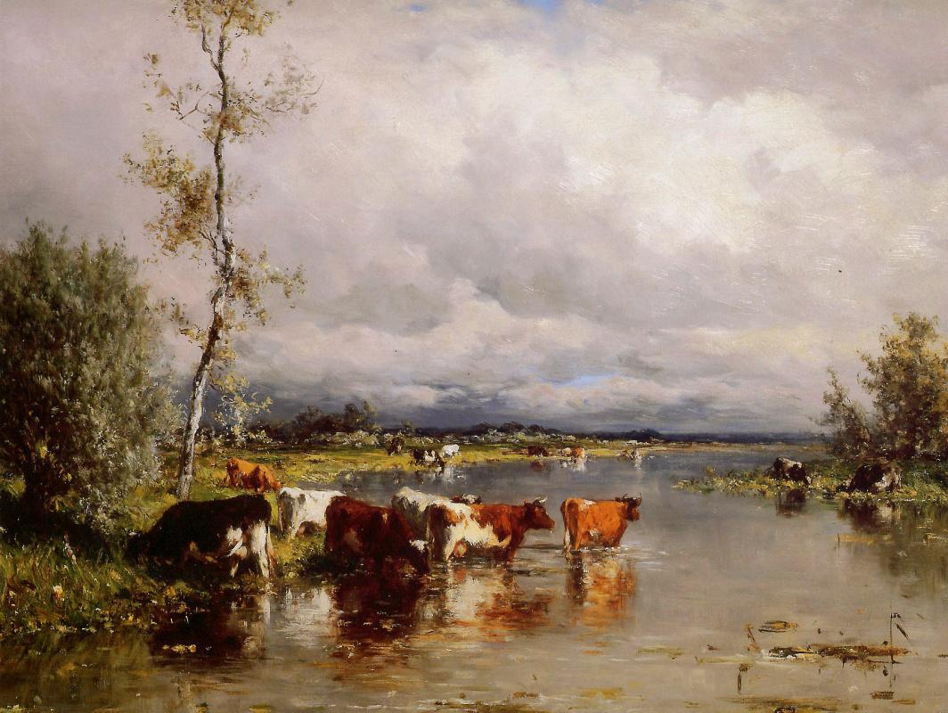 Виллем Рулофс. Речной пейзаж с коровами