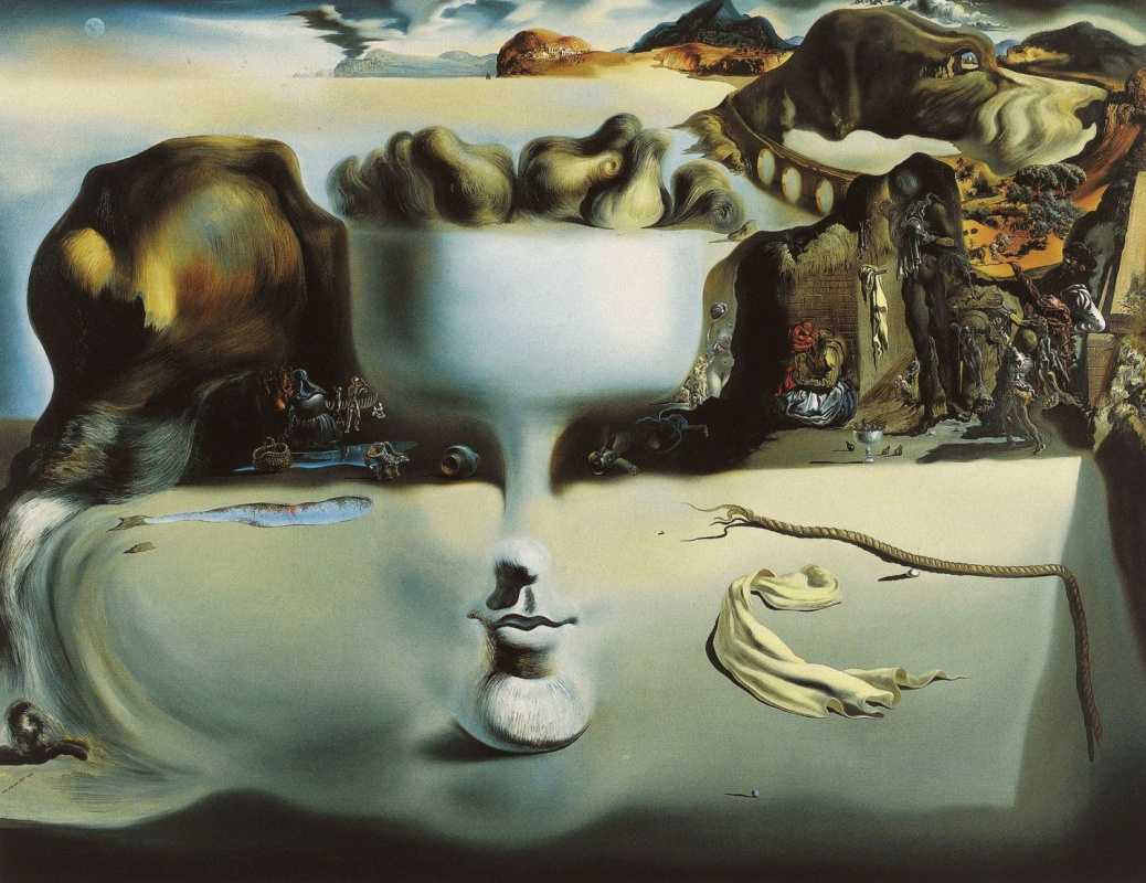 Salvador Dali. The phenomenon of the face and a vase with fruit on the beach