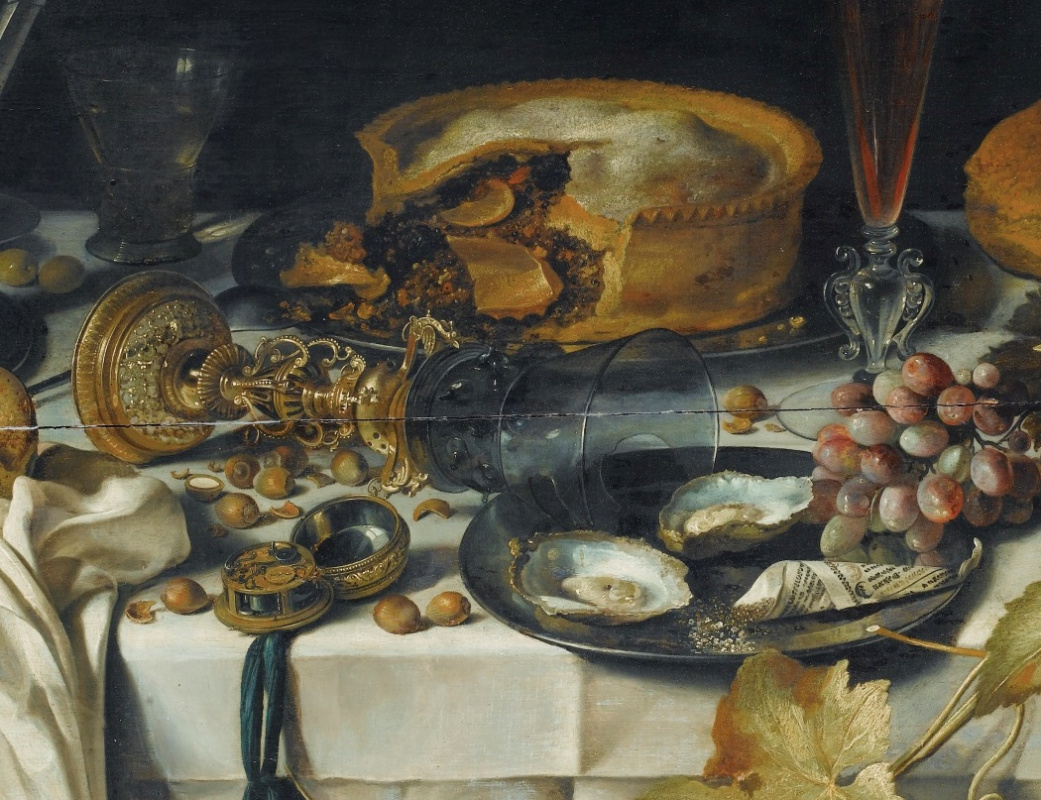 Pieter Claesz. Still-life with a jug, a broken glass, a pie, oysters and grapes. Fragment 2