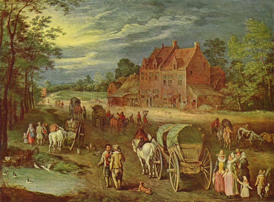 Jan Bruegel The Elder. Village street