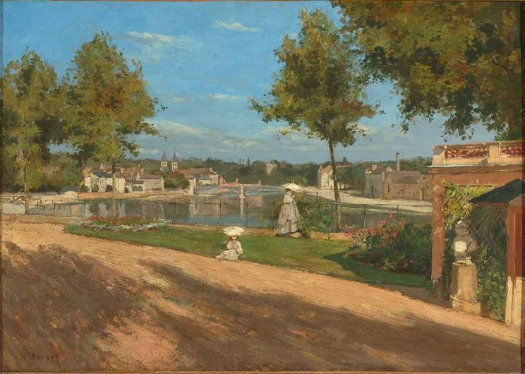 Stanislas-Henri Rouart. On the terrace beside the river Seine in Melun