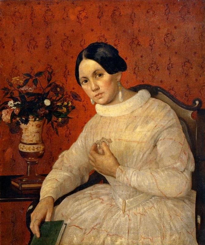 Иван Фомич (Трофимович) Хруцкий. Портрет неизвестной в белом платье, с книгой