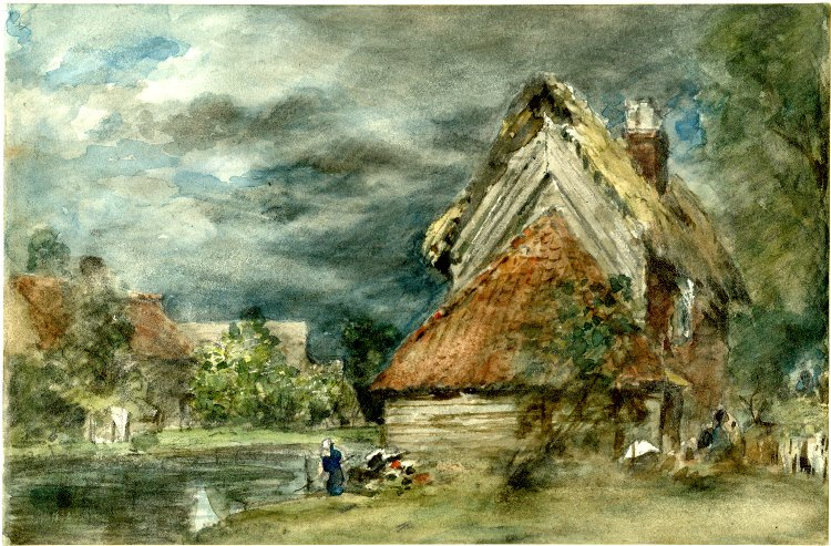 John Constable. Before the rain. Landscape with cottage by a pond