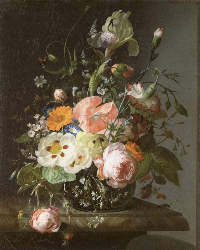 Рашель Рюйш. Натюрморт с цветами на мраморном столе
