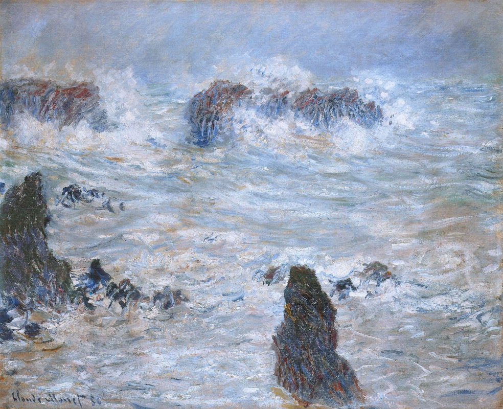 Claude Monet. Storm, coast at Belle-Ile