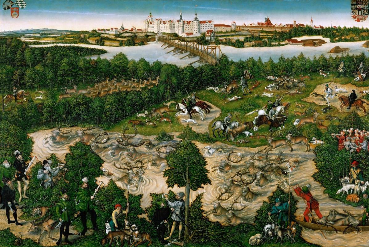 Lucas Cranach the Younger. Deer hunt of the elector Johann Friedrich. 1544
