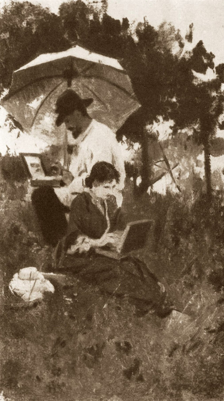 Алексей Степанович Степанов. И.И. Левитан и С.П. Кувшинникова на этюдах