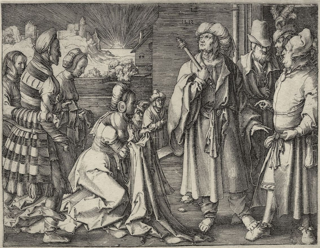 Лукас ван Лейден (Лука Лейденский). Жена Потифара обвиняет Иосифа