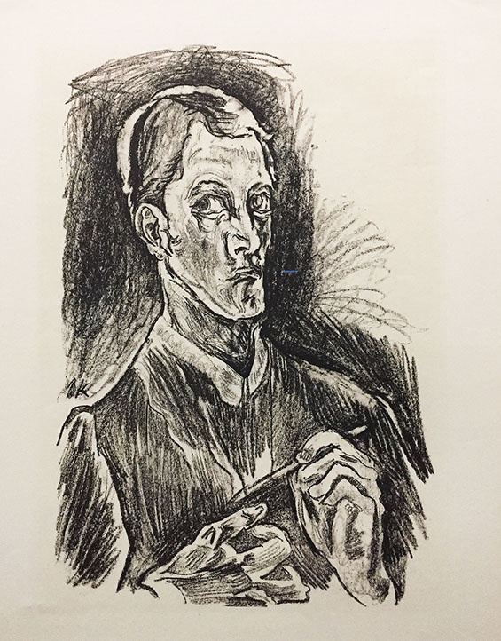 "Oskar Kokoschka. Self-Portrait (plate 1) from ""O Eternity - Thou Word of Thunder"" (Bach Cantata)"