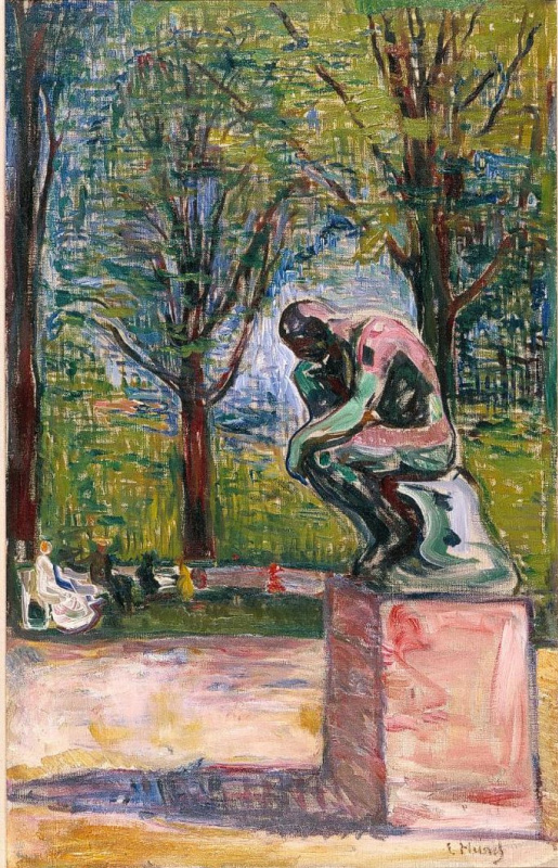 "Edvard Munch. ""The thinker"" by Rodin in the garden of Dr. Linde in lübeck"