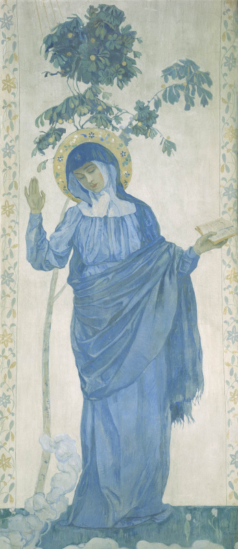 Mikhail Vasilyevich Nesterov. The Annunciation. The Virgin Mary. The painting of the pylon of the Pokrovsky Cathedral of the Marfo-Mariinsky convent in Moscow