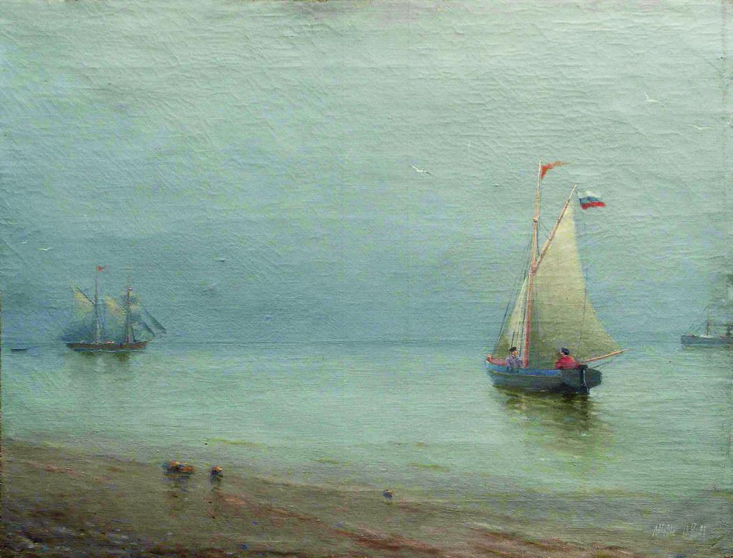 Lev Feliksovich Lagorio. Sailboat in the port