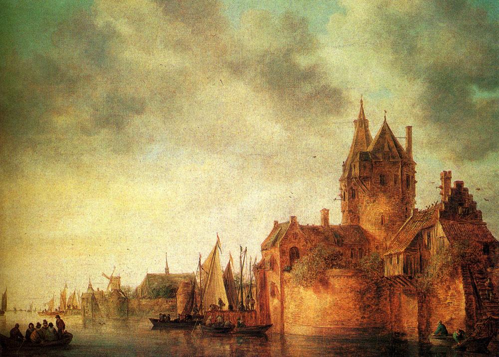 Jan van Goyen. Castle on the waterfront of navigable rivers